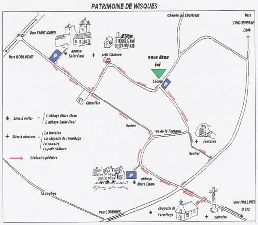 Plan circuit du patrimoine de Wisques